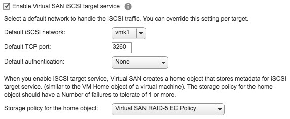 Enable vSAN iSCSI target service